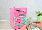 Электросейф копилка с кодовым замком для купюр и мелочи, синий цвет (с котиком) / Сейф копилка, фото 5