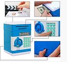 Электросейф копилка с кодовым замком для купюр и мелочи, синий цвет (с котиком) / Сейф копилка, фото 4