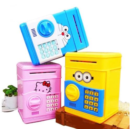 Электросейф копилка с кодовым замком для купюр и мелочи, синий цвет (с котиком) / Сейф копилка