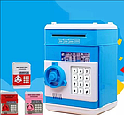 Электросейф копилка с кодовым замком для купюр и мелочи, синий цвет (с котиком) / Сейф копилка, фото 3