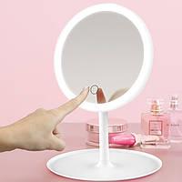 Косметическое зеркало с LED подсветкой Белое (диск равномерно по кругу )