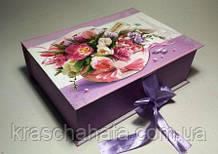 Сладкий подарок из конфет, Весенний букет, в подарочной коробке с лентой