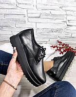 Туфли черные на высокой подошве