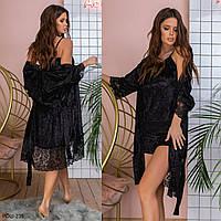 Женская стильная велюровая пижама тройка Разные цвета С, М +большие размеры, фото 1