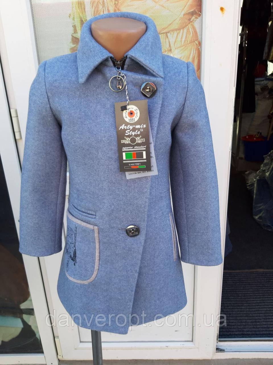 Пальто подростковое демисезонное с вышивкой на девочку размер 128-146 купить оптом со склада 7км Одесса