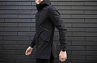 "Куртка мужская весенняя с капюшоном Pobedov Soft Shell Jacket ""Japan"" черная"
