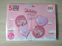 Шарики фольгированные   День рождение девочки ,на выписку ребенка набор 5шт