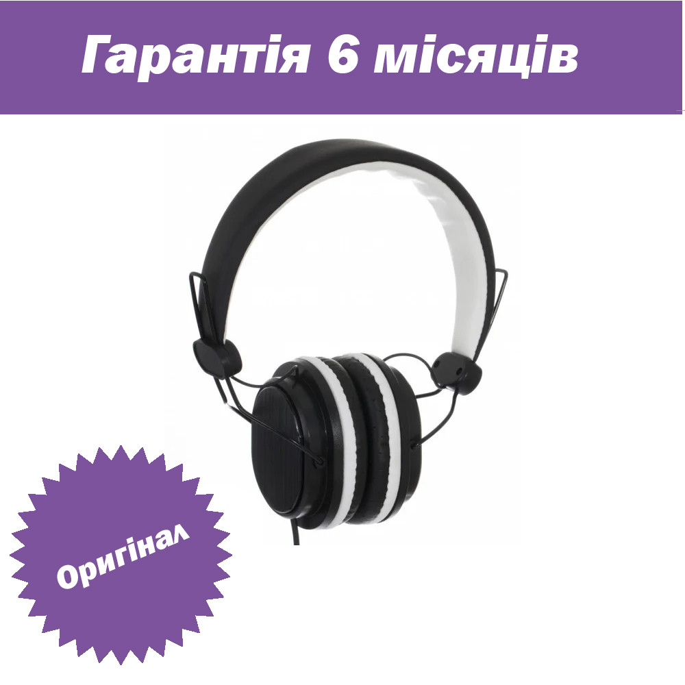 Дротові навушники з мікрофоном Sonic Sound E288 Чорно-білі