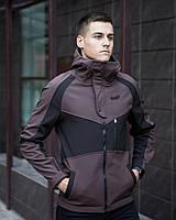 """Куртка мужская весенняя с капюшоном Pobedov Soft Shell Jacket """"Klon"""" коричнево-черная"""