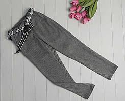 Серые прямые брюки с поясом для девочки 128-152 р
