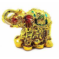 Слон каменная крошка золото (6х8,5х4,5 см)