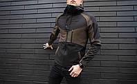 """Куртка мужская весенняя с капюшоном Pobedov Soft Shell Jacket """"Klon"""" черный-хаки"""