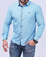 Рубашка мужская S, M длинный рукав. Турция. Молодежная турецкая рубашка трансформер. Бизюзовый