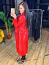 Женский кожаный тренч длинный с поясом и английским воротником 58pt263, фото 4