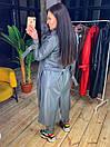 Женский кожаный тренч длинный с поясом и английским воротником 58pt263, фото 6