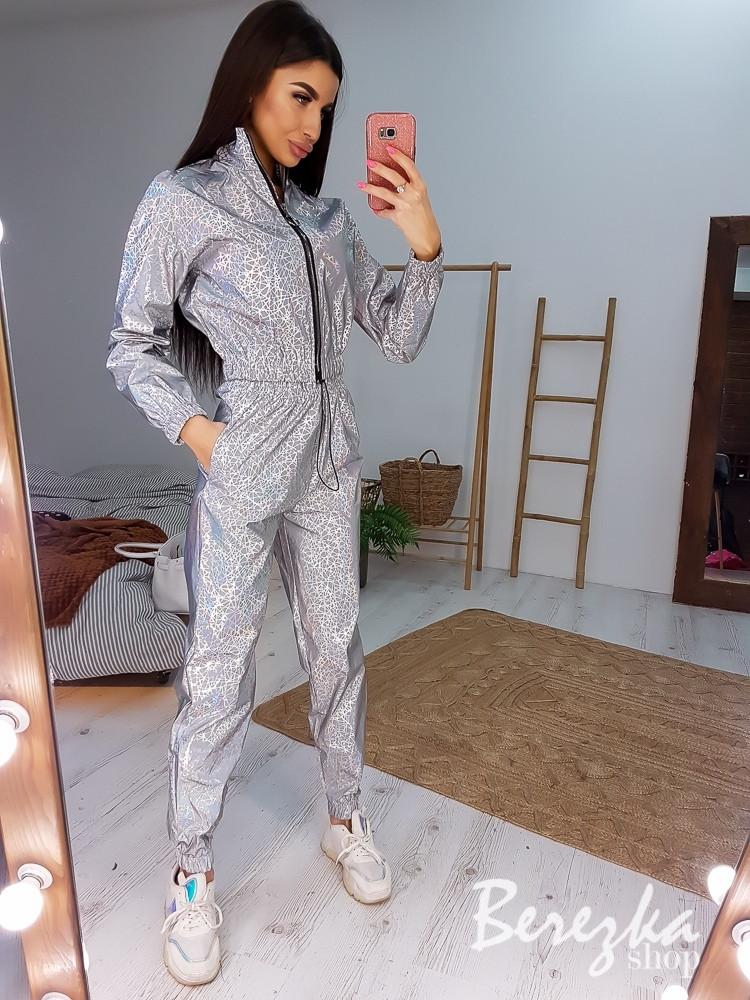 Женский светоотражающий брючный костюм с брюками карго и бомбером 66ks456