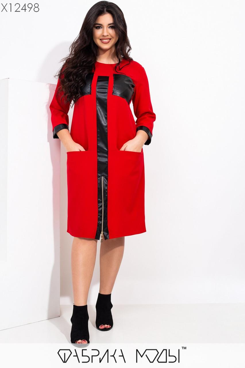 Прямое платье большого размера длиной до колен с вставками экокожи 1ba514