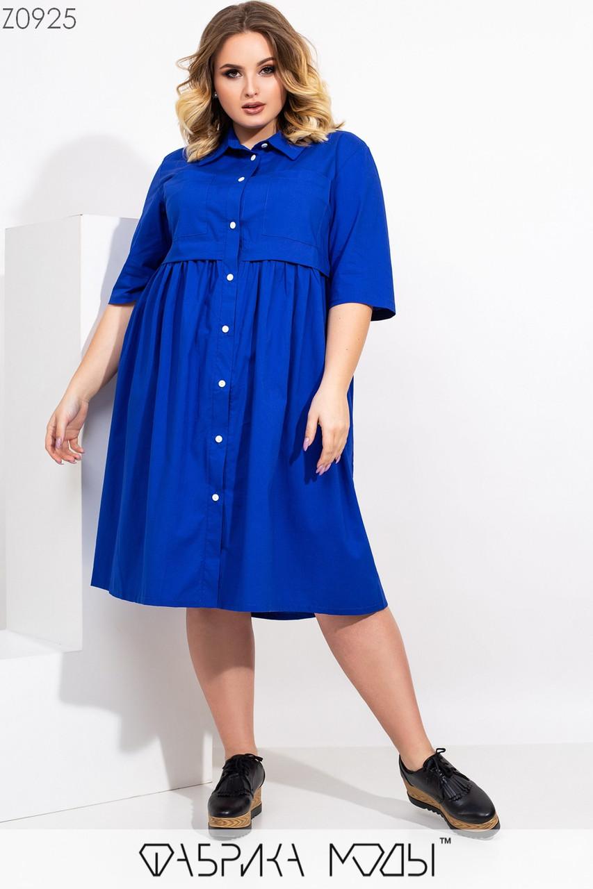 Платье - рубашка большого размера с пуговицами спереди и рукавом 3/4 1ba517