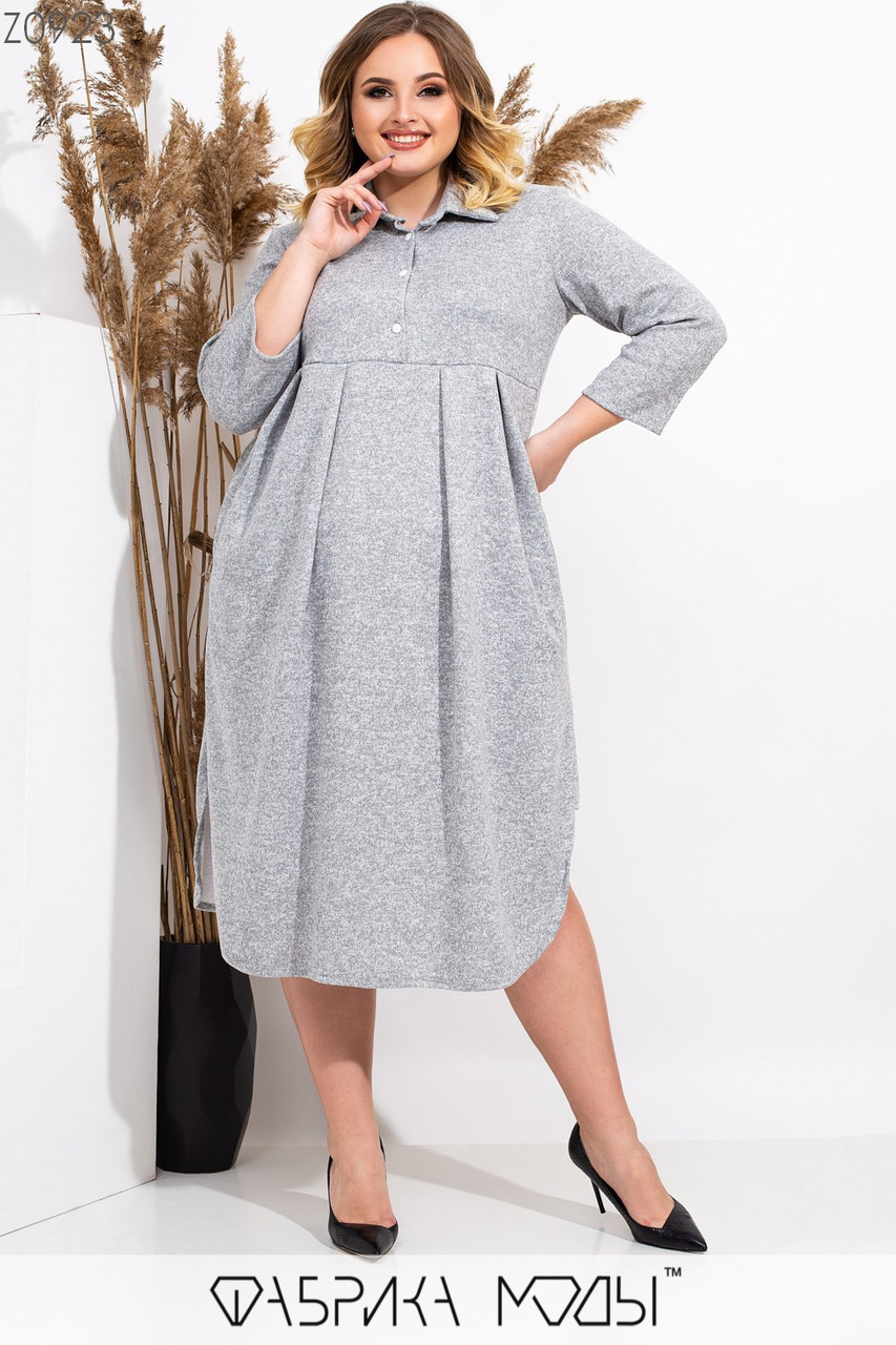 Свободное платье большого размера из ангоры с завышенной талией 1ba518