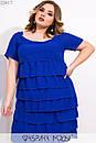 Свободное платье большого размера с рюшами из шифона и коротким рукавом 1ba520, фото 2