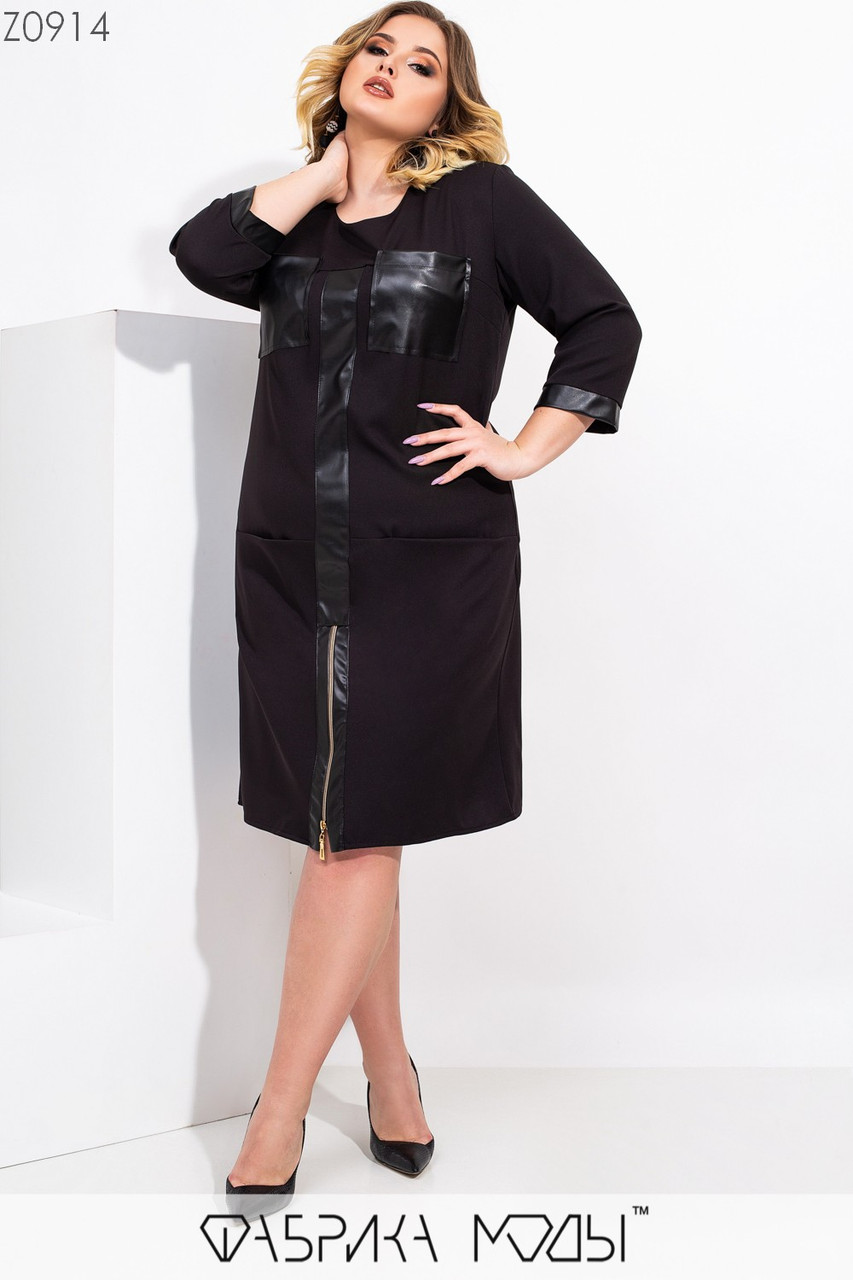 Прямое платье большого размера с вставками кожи и накладными карманами 1ba521