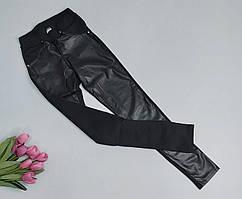 Комбинированные черные леггинсы для девочки 932-36 р