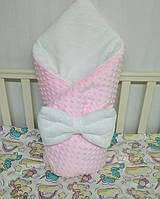 """Теплый конверт на выписку """"Минки"""", конверт-одеяло (плед) на выписку для девочек со съемным синтепоном"""
