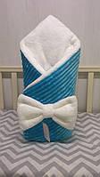 """Конверт на выписку """"Минки""""Шарпей, конверт-одеяло голубой (плед) на выписку для мальчика со съемным синтепоном"""