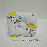 Антиалергенная ортопедическая подушка для младенцев  Слоники с Бабочками22 х 26 см (186)