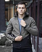 "Куртка мужская весенняя с капюшоном Pobedov Soft Shell Jacket ""Romka"" хаки-черная"