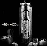 Качественный стеклянный термос в чехле с заварочным блоком 600 мл, фото 4