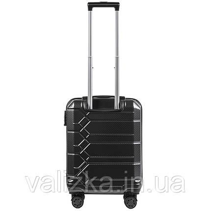 Малый чемодан из поликарбоната премиум серии для ручной клади на 4-х двойных колесах графитовый 185, фото 2