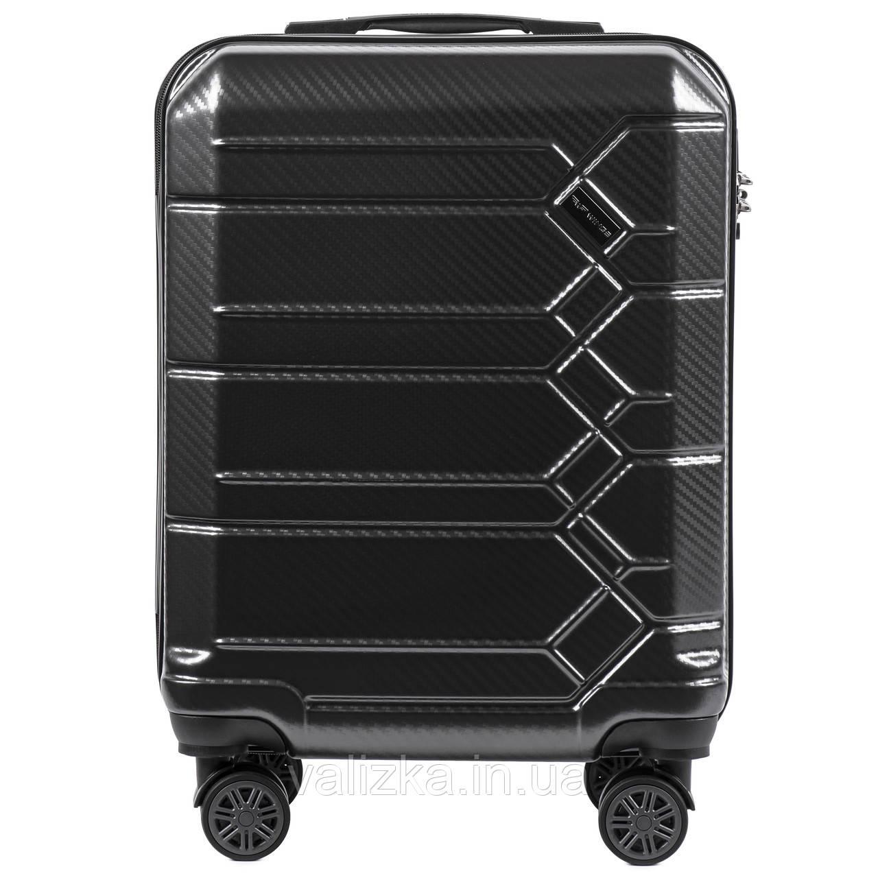 Малый чемодан из поликарбоната премиум серии для ручной клади на 4-х двойных колесах графитовый 185