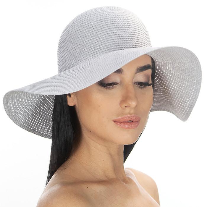 Летняя женская шляпа поля средней ширины 10 см цвет светло серый