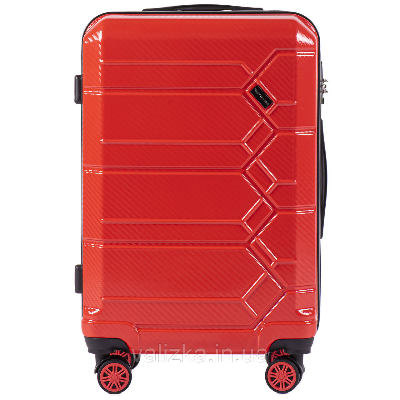 Средний чемодан из поликарбоната премиум серии для ручной клади на 4-х двойных колесах красный