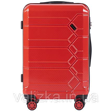 Средний чемодан из поликарбоната премиум серии для ручной клади на 4-х двойных колесах красный, фото 2