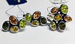Фигурный серебряный набор с цветным цирконом  Амидея, фото 4