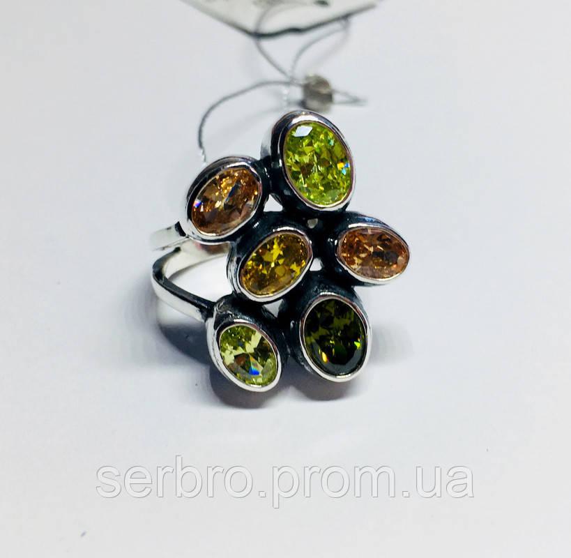 Крупное кольцо с  цветным цирконом серебро Амидея