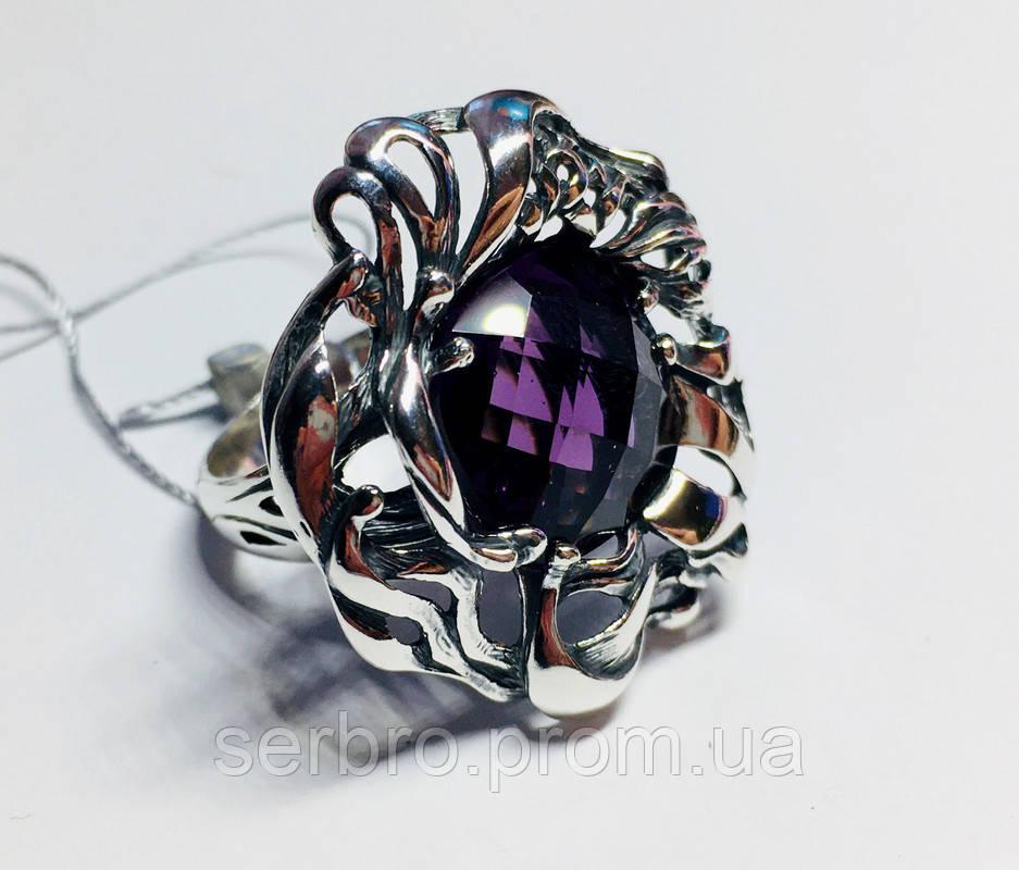 Большое кольцо с фиолетовым аметистом серебро Ирида