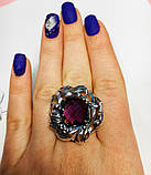 Большое кольцо с фиолетовым аметистом серебро Ирида, фото 5