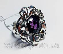 Крупное  кольцо с фиолетовым аметистом серебро Ирида