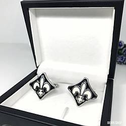 """Запонки """"Gelica"""" Premium, сріблясті в коробочці з білим оксамитом."""