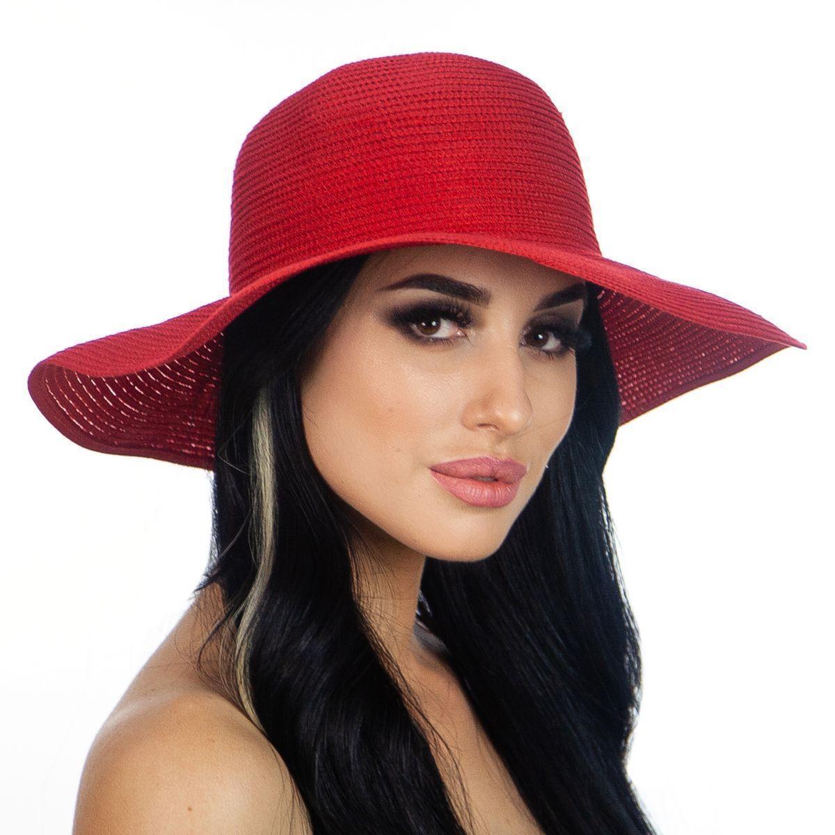 Летняя женская шляпа поля средние 10 см цвет красный