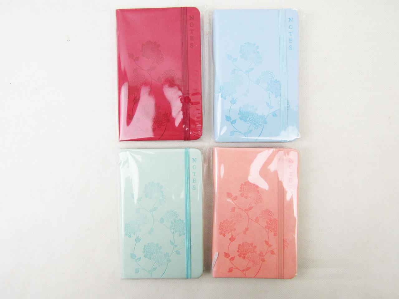 "Блокнот на резинке ""Тиснение-цветок"", 96 листов, 4 цвета, в клетку, 5602-2"