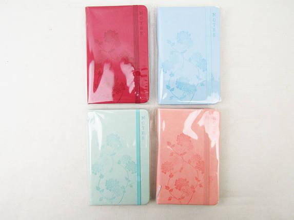 "Блокнот на резинке ""Тиснение-цветок"", 96 листов, 4 цвета, в клетку, 5602-2, фото 2"