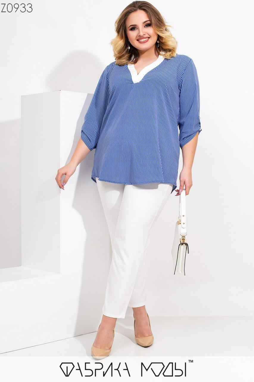 Жіночий брючний костюм великого розміру з вільної блузою і укороченими звуженими штанами 1uk5uk