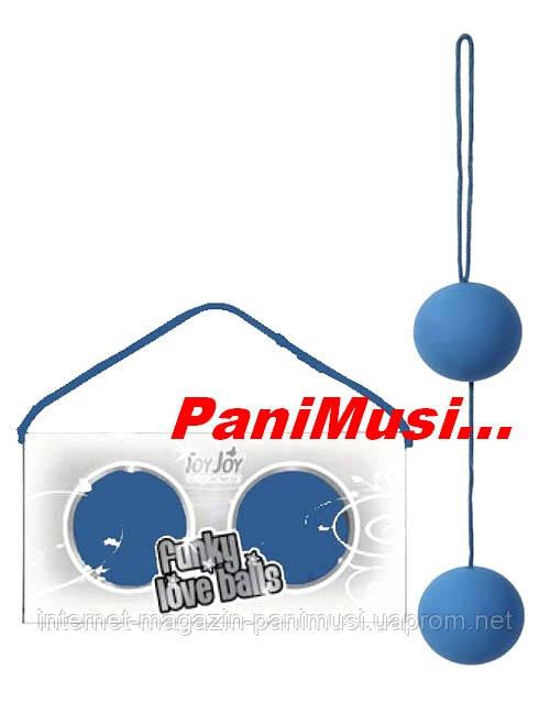 Вагинальные шарики Funky Love Balls Blue Голубые медицинский силикон увеличивают оргазм Toy Joy