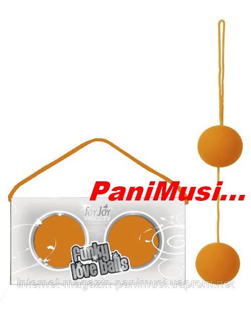Вагинальные шарики Funky Love Balls Orange Оранжевые медицинский силикон увеличивают оргазм Toy Joy