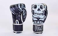 Перчатки для бокса Everlast skull (полиуретан) черные реплика
