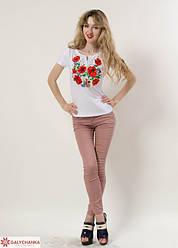 Женская футболка - вышиванка Багровые маки, короткий рукав, р. 42,44,46,48,50 белая, жіноча вишиванка